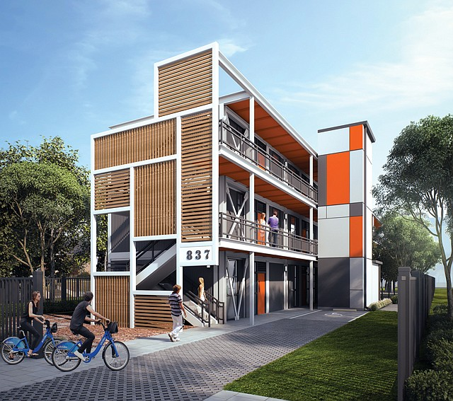 Outside the Box: A rendering of the modular housing developed by FlyawayHomes at 837 West 82nd St.