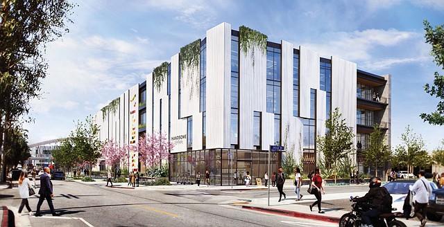Office Opportunity: A rendering of Produce LA on Santa Fe Avenue.