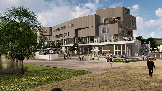 The Design and Innovation Building at the University of California San Diego will be a front door to the university for trolley riders. Rendering courtesy of UC San Diego.