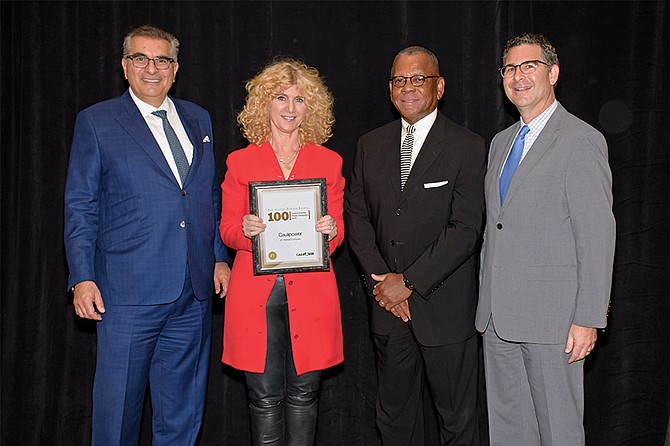 From left: Diamond Sponsor, Joseph Mazza (RSM); No. 1 Fastest Growing Private Company, Gail Becker (Caulipower); Diamond Sponsor, Wayne Ward (California Bank and Trust); Platinum Sponsor, Michael Kaplan (Miller Kaplan).
