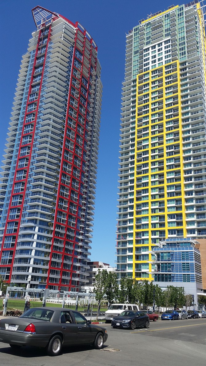 Pinnacle on the Park, right, and its sister building, Spire, are among the latest apartment towers built in downtown San Diego. Photo by Ray Huard.