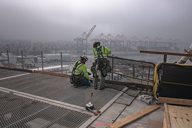 Construction workers on Gerald Desmond Bridge in the fall of 2019.