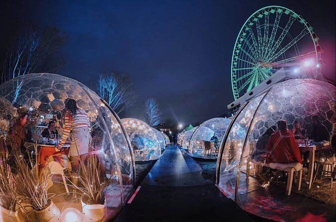 From February 6, 2020 to March 8, 2020, Dinner With A View will set up its pop-up dining experience — where guests dine in domes — in San Diego's Liberty Station. Photos courtesy of Dinner With A View.