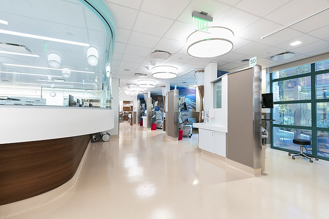 The Gary and Mary West Emergency Department at UC San Diego Health has nonslip floors and sound-absorbing walls, among the design elements with seniors in mind. Photo courtesy of UC San Diego Health.