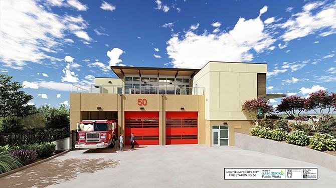 Platt/Whitelaw Architects is designing $10.8 million Station 50 under construction for the San Diego Fire-Rescue Department. Rendering courtesy of Platt/Whitelaw Architects.