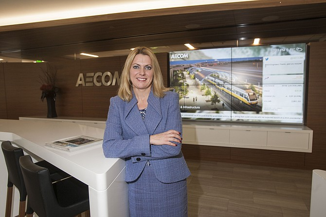 Carla Christofferson at the Century City office of Aecom Technology Corp. .(Photo by Ringo Chiu).