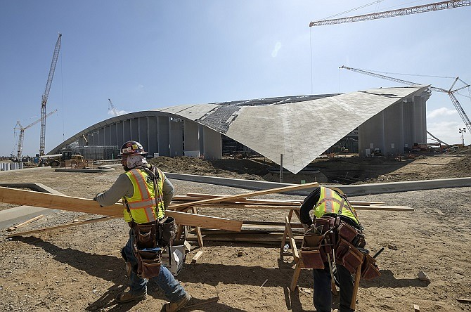 A tour of the Rams new stadium in Inglewood. (Photo by Ringo Chiu).