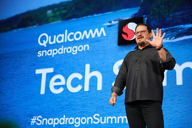 Qualcomm's Cristiano Amon speaks about 5G at the Snapdragon Tech Summit. Photo courtesy of Qualcomm Inc.