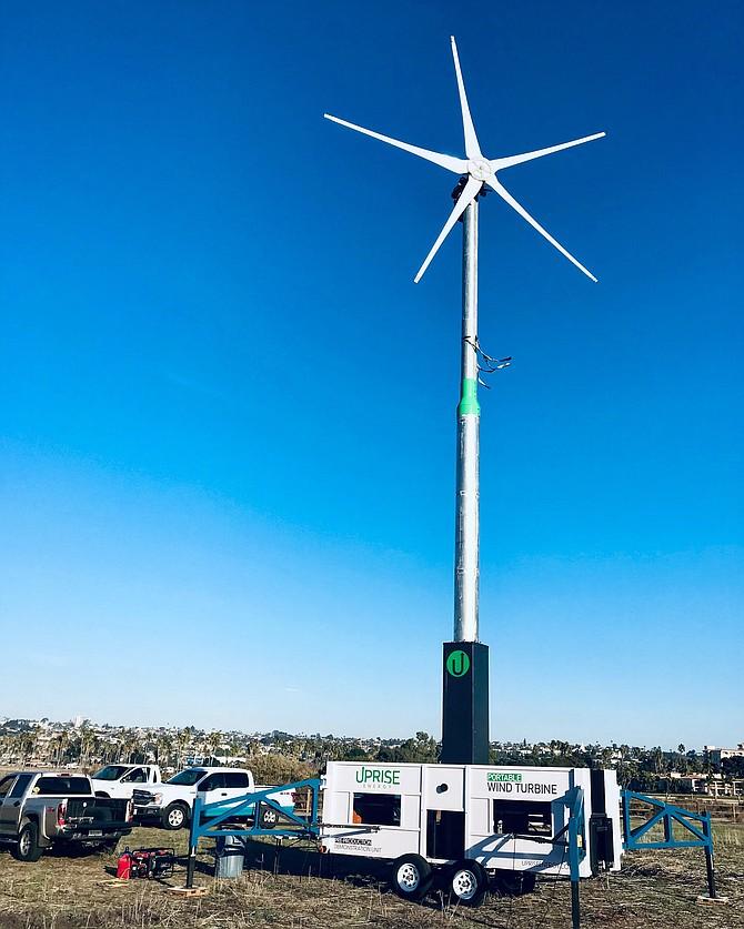 Uprise Energy wind turbine at work. Photo courtesy of Uprise Energy.