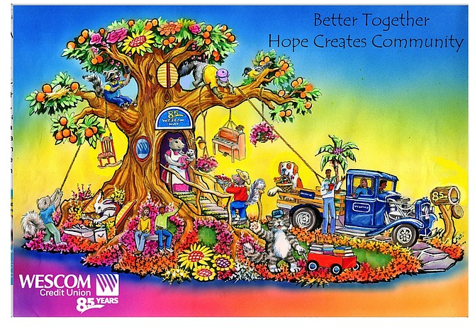 Rendering of Wescom's Rose Parade float.