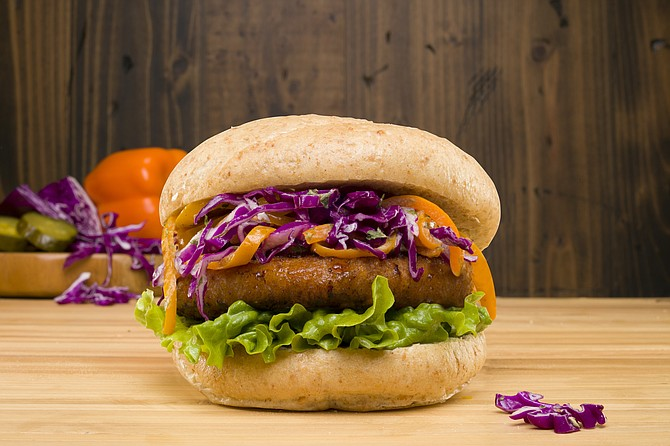 Before the Butcher offers four types of burgers: UNCUT burger, UNCUT savory chicken burger (pictured), UNCUT turkey and UNCUT breakfast sausage, according to the company. Photo courtesy of Before the Butcher Inc.