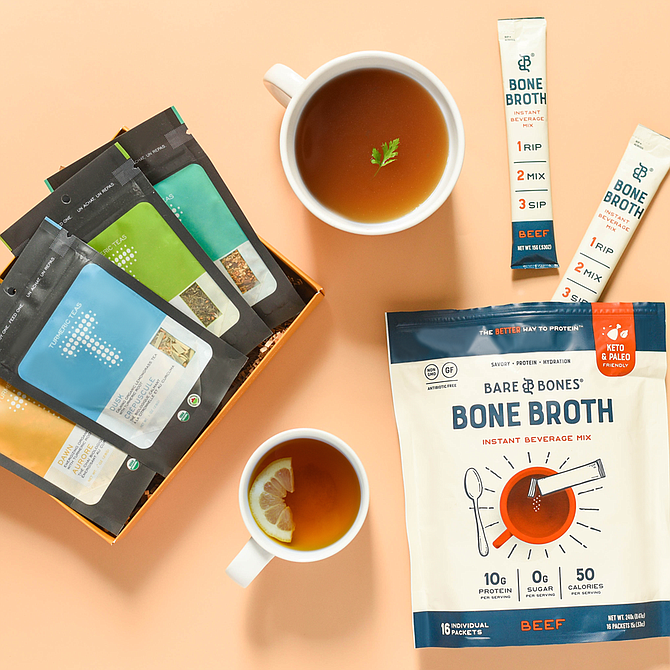 Currently, Bare Bones offers four flavor options in liquid: beef, chicken, rosemary lemon chicken and turkey; and one profile in powdered form: beef, according to the company. Photos courtesy of Barebones Venture LLC.