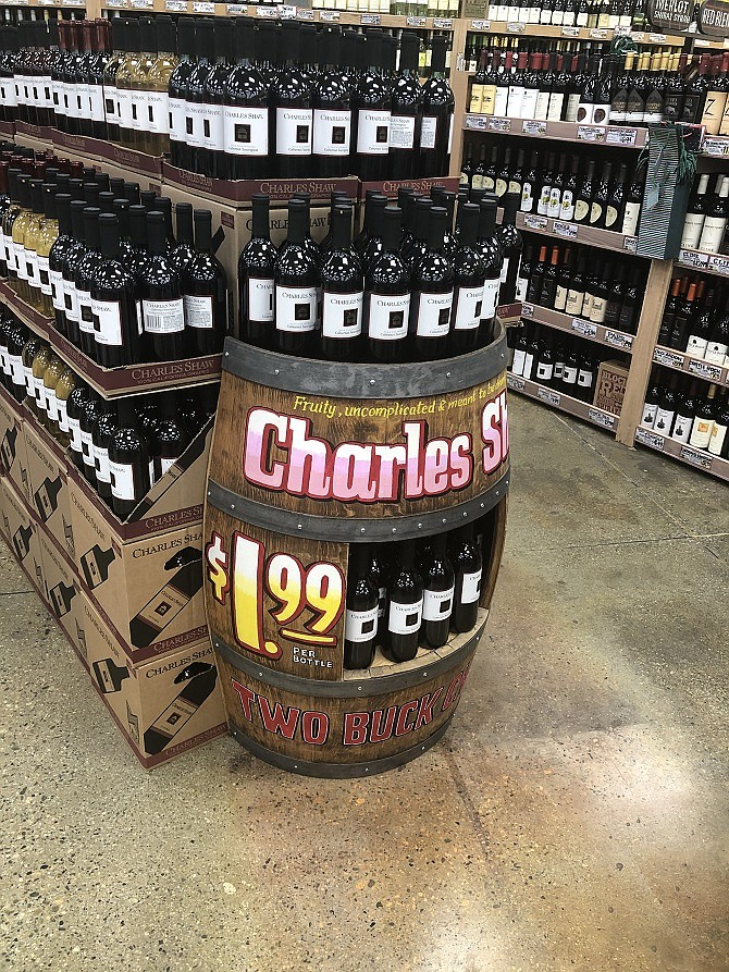 Trader Joe's Charles Shaw wine, aka Two Buck Chuck, is selling for $1.99 again.