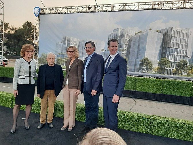 From left: Burbank Mayor Sharon Springer, architect Frank Gehry, Warner Bros. Entertainment President Ann Sarnoff, real estate developer Jeffrey Worthe, Gov. Gavin Newsom.