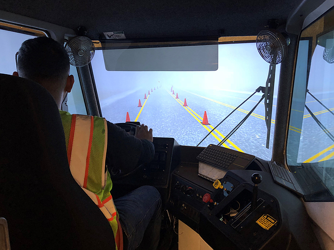 A driver encounters the hazards of winter driving while in the truck simulator. Photo courtesy of Advance Training Systems.