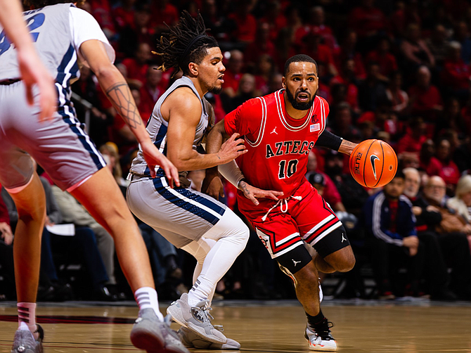 SDSU guard KJ Feagin and the rest of the Aztecs are driving toward a record season. Photo courtesy of Derrick Tuskan/SDSU Athletics.
