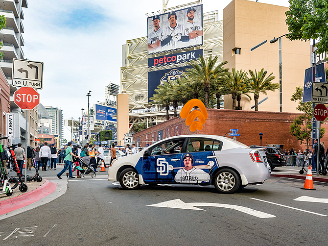 Photo courtesy of San Diego Padres. Wrapify advertising added to Petco Park attendance.