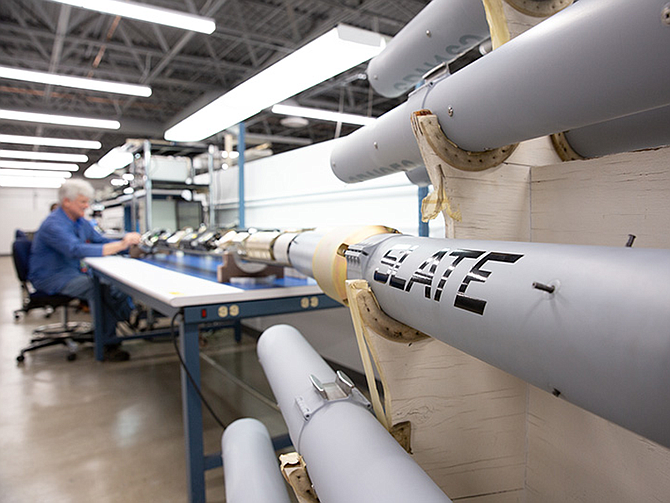 Photo courtesy of Cubic Corp. A file photo shows air combat training systems under construction at Cubic Corp.