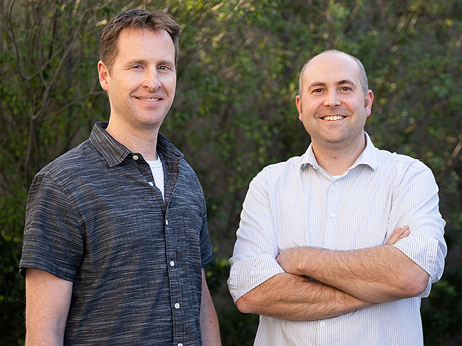 Photo courtesy of Launch Factory. Brad Chisum, left, partnered up with James Hereford to form a startup studio, Launch Factory.
