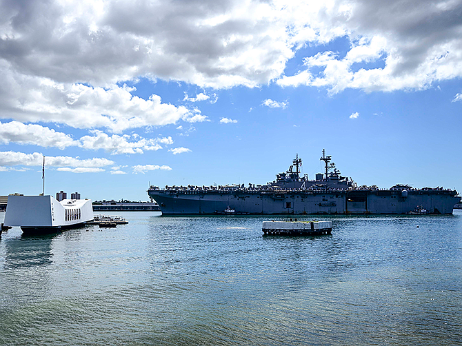 Photo courtesy of U.S. Navy. A U.S. Navy amphibious ship arrives in Hawaii in November. Epsilon Systems Solutions will compete for ship repair delivery orders at Pearl Harbor.