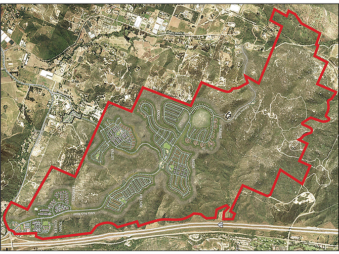 Photo courtesy of Newland Communities. An aerial shot shows the large area of land that would be developed to include 1,140 single-family homes and 995 townhomes in the North County.