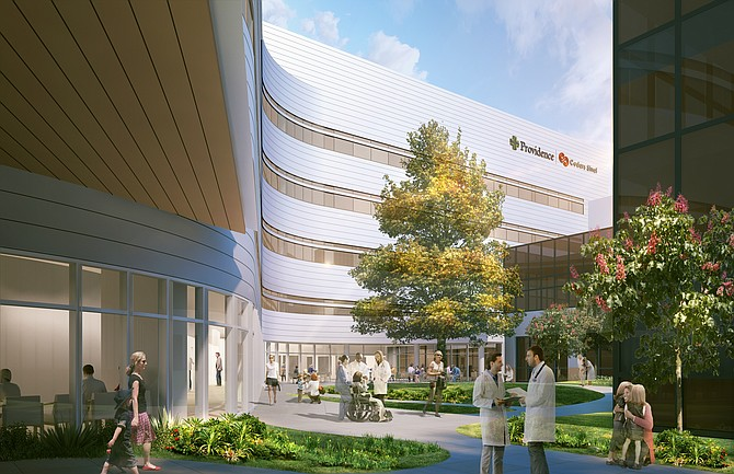 Rendering of patient tower at Providence Tarzana Medical Center.