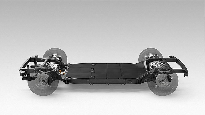 The skateboard platform for Canoo's electric vehicle.