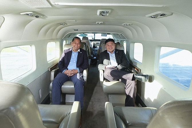 Founder Arnel Guiang, left, and co-founder Tom Hsieh, of Float Shuttle.