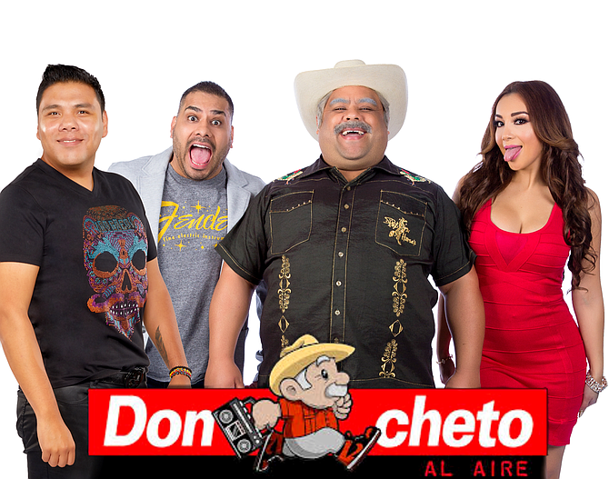 Laugh Crew: Estrella's most recognized personality is Don Cheto, third from left, seen here with the cast of his radio show.