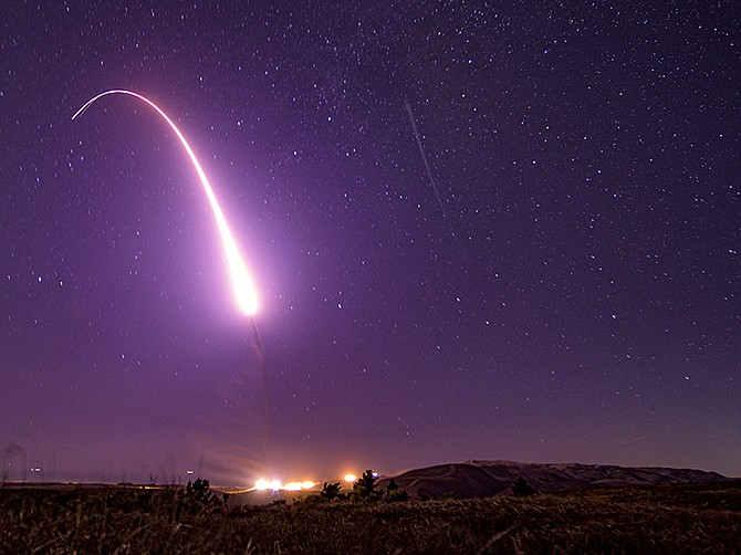 Photo courtesy of U.S. Air Force. An unarmed Minuteman III missile launches from Vandenberg Air Force Base in October. Kratos Defense is a subcontractor on a program that is expected to replace the Minuteman.