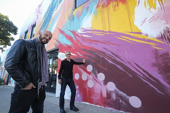 "Beautify co-founders Evan Meyer and Paul Shustak connect brands and landlords with artists who can enhance their spaces. This mural by David ""Meggs"" Hooke is at Cross Campus in Santa Monica."