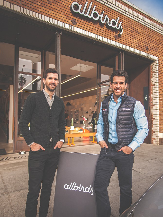 Kevin Campos (left),  retail and consumer investment team partner and Retail Fund lead, and Brendan Wallace, Fifth Wall co-founder and managing partner, in front of Fifth Wall portfolio company Allbirds.