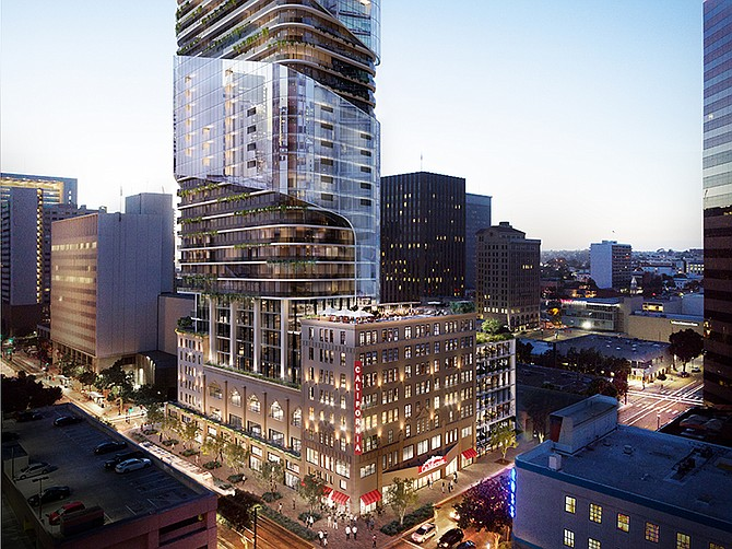 Rendering courtesy of Caydon. A condominium tower is planned on the site of the California Theatre.
