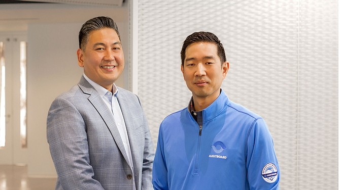 Auditboard co-founders Jay Lee and Daniel Kim.