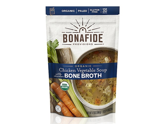 Photo courtesy of Bonafide Provisions LLC. Sales of San Diego-based Bonafide Provisions' bone broth and bone broth-based soup products have jumped 500% since mid-March, according to founder Sharon Brown.