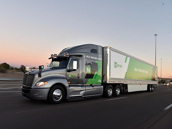 Photo courtesy of TuSimple. TuSimple maintains its own fleet of 60 semis.