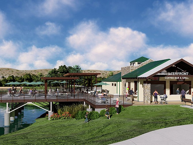 Rendering courtesy of CBSI. After a one-day pause construction company CBSI was back on the job working on its Santee Lakes Recreation Preserve project.