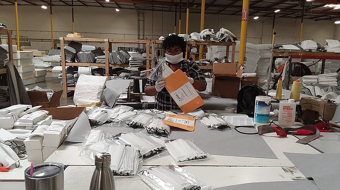Ortho Mattress' team makes 1,000 masks per day.