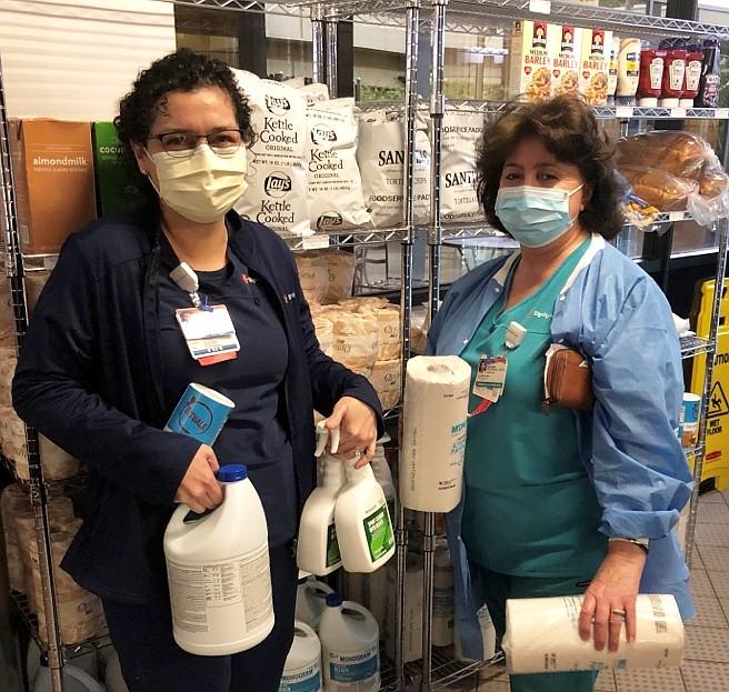 From left: Jeny Hernandez and Satenik Nalbandian visit the mini mart at Northridge Hospital.