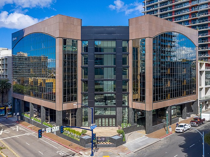 Rendering courtesy of CoStar. The former bank building at Kettner Boulevard and Ash Street is among renovated downtown office buildings coming to market.