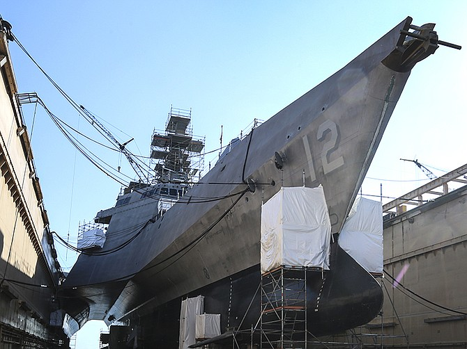 File photo by Jamie Scott Lytle. The Littoral Combat Ship USS Omaha in dry dock at BAE Systems San Diego Ship Repair in 2018.