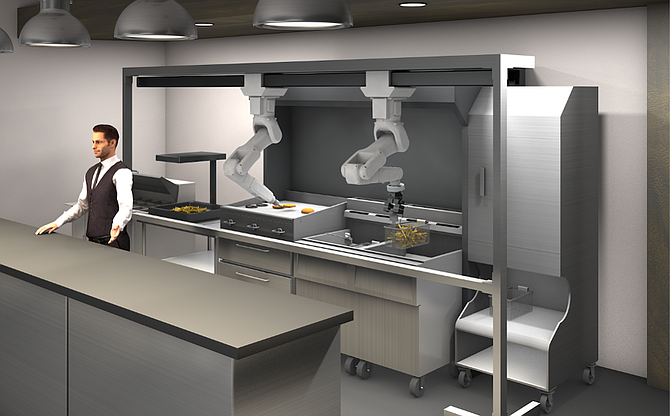Miso Robotics' second-generation Flippy, a robotic arm that operates the fryer in commercial kitchens, including at Dodgers Stadium.