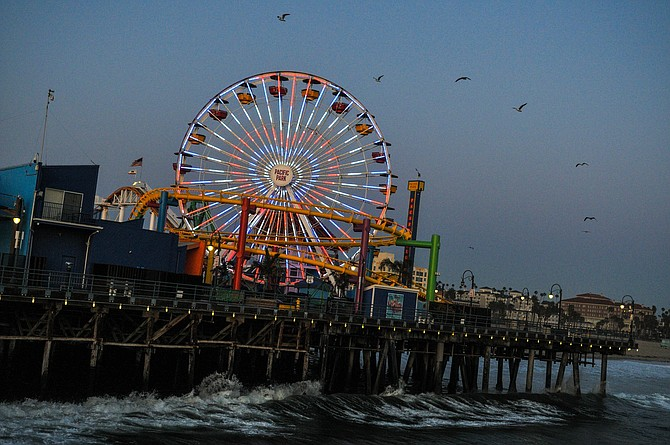 A heart is displayed on the ferris wheel at Santa Monica Pier to thank doctors, nurses and medical staff for their service during the coronavirus pandemic.
