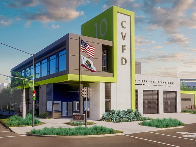 Rendering courtesy of Meridian Development. A new fire station was built by Meridian Development as part of its Millennia project in Chula Vista.