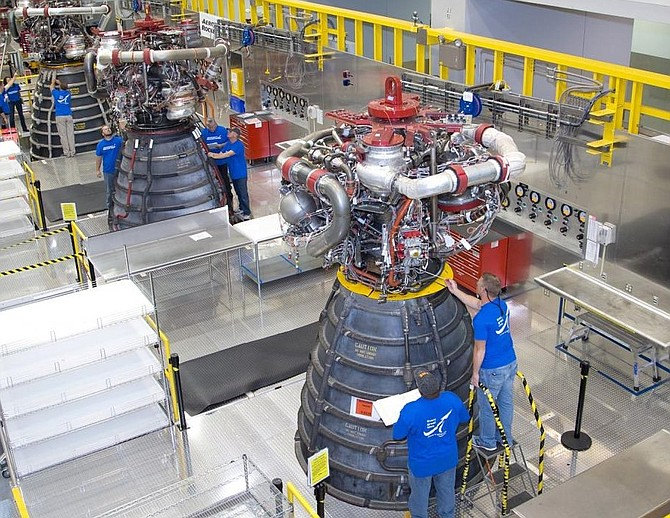 Aerojet Rocketdyne RS-25 engines at Stennis Space Center in Mississippi.