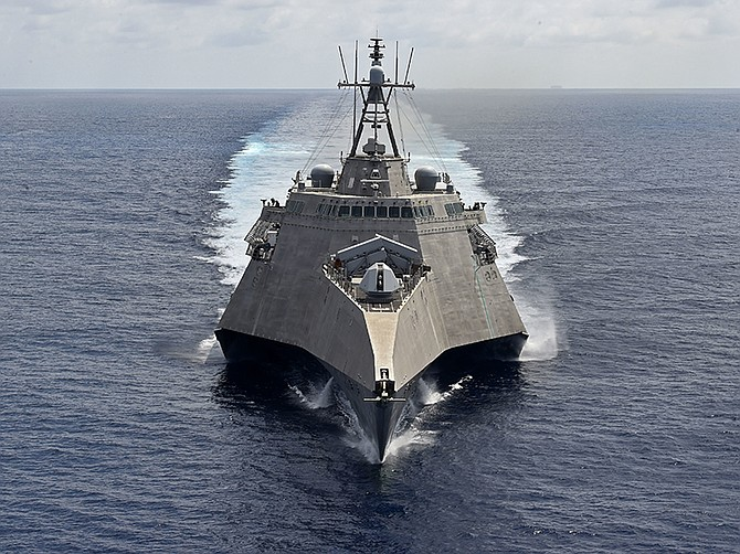 Photo courtesy of U.S. Navy. The San Diego-based littoral combat ship USS Gabrielle Giffords, seen March 20 in the South China Sea.