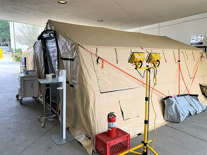 A Covid-19 surge tent at Providence Holy Cross Medical Center in Burbank.