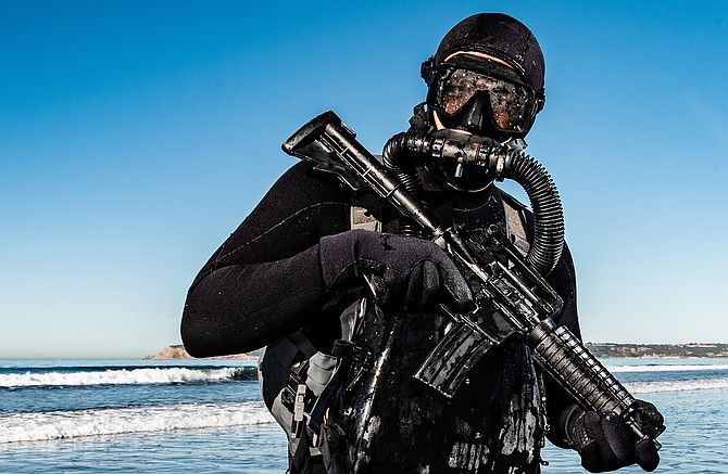 Photo courtesy of U.S. Navy. A U.S. Naval special operator takes part in dive training in Coronado. Three San Diego County companies are among 46 nationwide supporting the U.S. Special Operations Command.