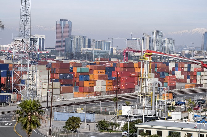 April cargo volumes declined less than expected at the San Pedro Bay ports.