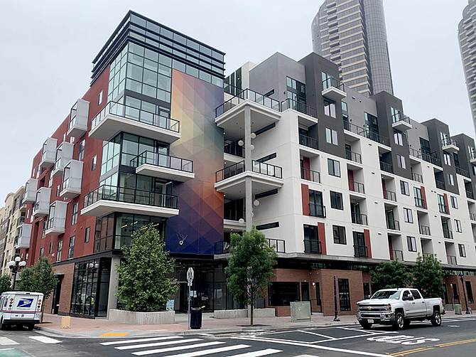 Photo courtesy of Legacy Partners. Legacy Partners based in San Francisco has built a 168-apartment complex in downtown San Diego.